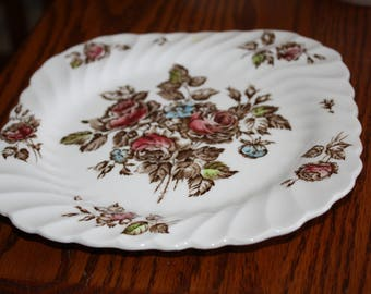 """Johnson Brothers Square Plate in """"Devon Sprays"""" Pattern Made in England"""