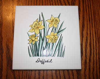 Ceramic Tile with Daffodils made in USA by FT - Florida Tile