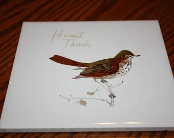 Hermit Thrush Bird Tile - Hand Crafted in W. Yarmouth Massachusetts by Screencraft