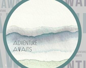 Adventure Awaits Cirlce Print