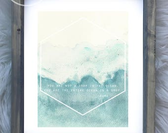 Rumi Art Print You Are Not A Drop in the Ocean, Watercolor Polygon Modern Art, framed art