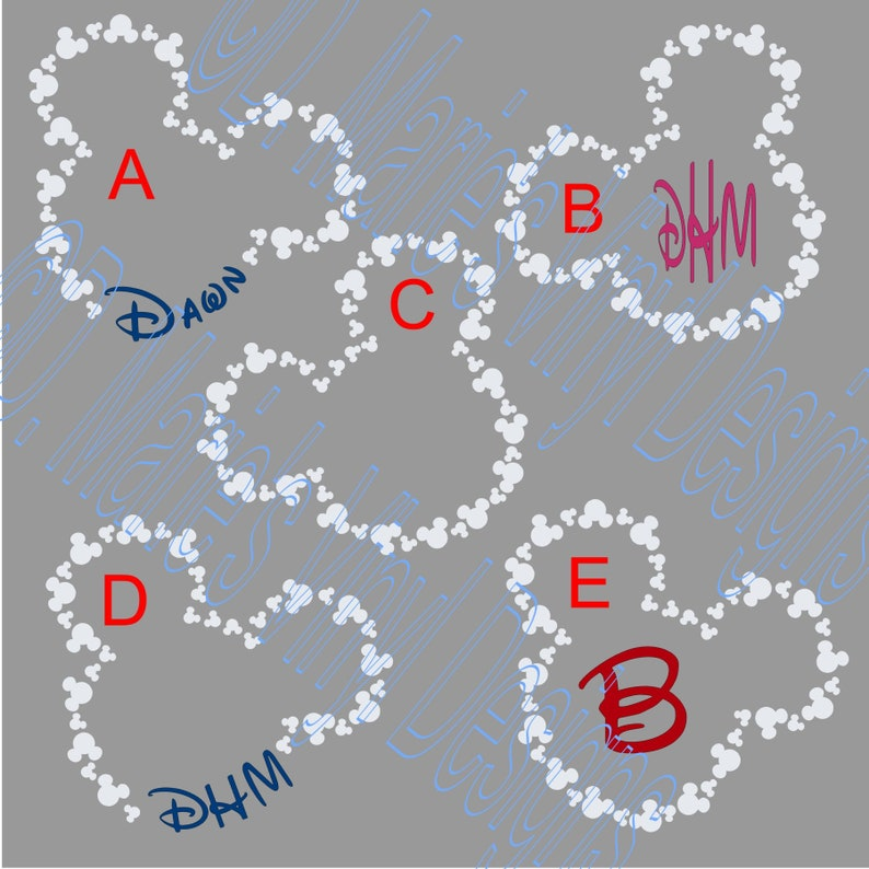 Disney/'s Mickey Mouse Head Outline with Name or Initials