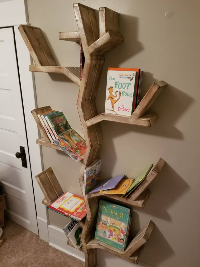 Tree Bookshelf Rustic Shelf