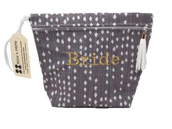 Dusty Purple Bride Makeup Bag or Bridal Emergency Kit Bag
