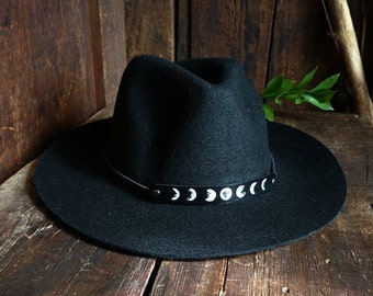 cb3c25a7cbe29 Lunar Phase Hat Band w Hat    Leather Hat Band   Witchy   Sun Hat   Goth    Moon   Magick   Festival Style   Summer Fashion   Fedora