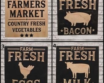 Ready To Ship - Farm Signs, Farmhouse Signs, Farmer's Market, Milk, Eggs, Bacon, RTS