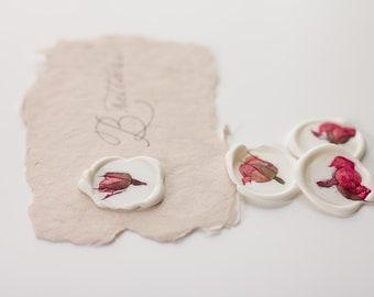 Wax Seal Stickers, Pressed Pink Rose, Wedding Wax Seal,