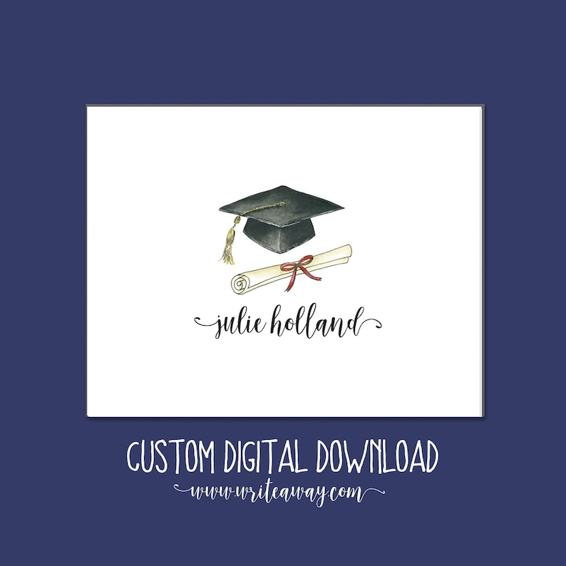 Graduation Note Cards  Personalized  Printable  Graduation image 0