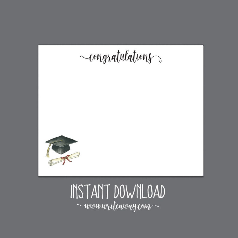 Printable Graduation Note Cards  Graduation  Digital image 0