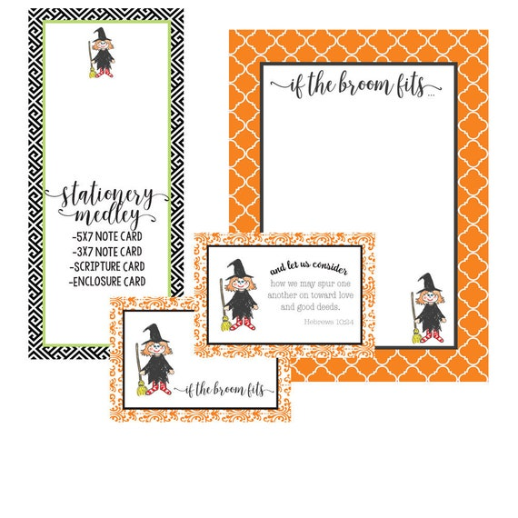 picture about Halloween Stationery Printable known as Halloween Stationery Medley Witch Downloadable Notes Reward Tag  Scripture Card