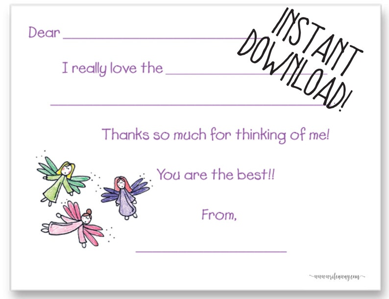 Fairies Printable Fill In Thank You Cards INSTANT DOWNLOAD| Personalized Note Cards Kids Notes Pixie Thank Yous Fairy