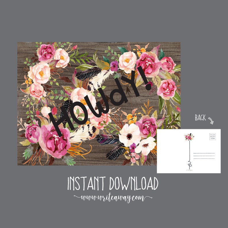 Rustic Floral Howdy Post Card  INSTANT DOWNLOAD image 0