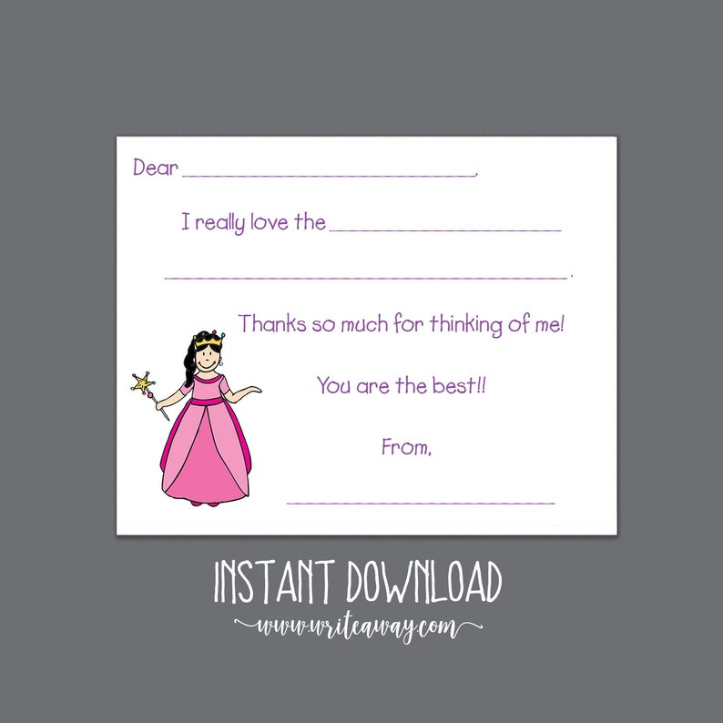 Kids Notes Crown Disney Princess Princess Printable Fill In Thank You Cards Thank Yous INSTANT DOWNLOAD| Note Cards