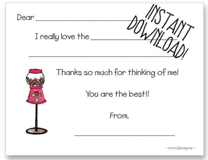 Note Cards Gum Ball Machine Printable Fill In Thank You Cards |Gum Ball |Bubblegum Thank Yous Kids Notes INSTANT DOWNLOAD
