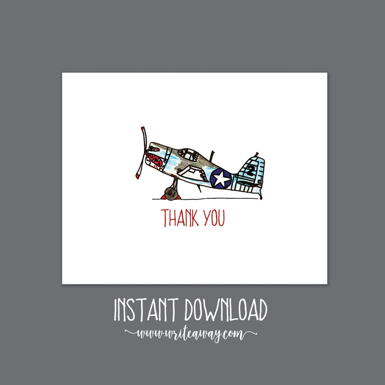 Printable Biplane Thank You Note  INSTANT DOWNLOAD image 0