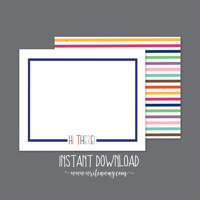 Rainbow Stripes Note Cards  INSTANT DOWNLOAD  Printable image 0