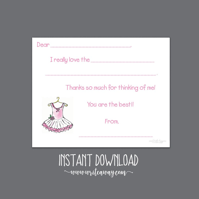 Ballerina Printable Ballet Tutu Fill In Thank You Cards Dance INSTANT DOWNLOAD| Note Cards Thank Yous Kids Notes