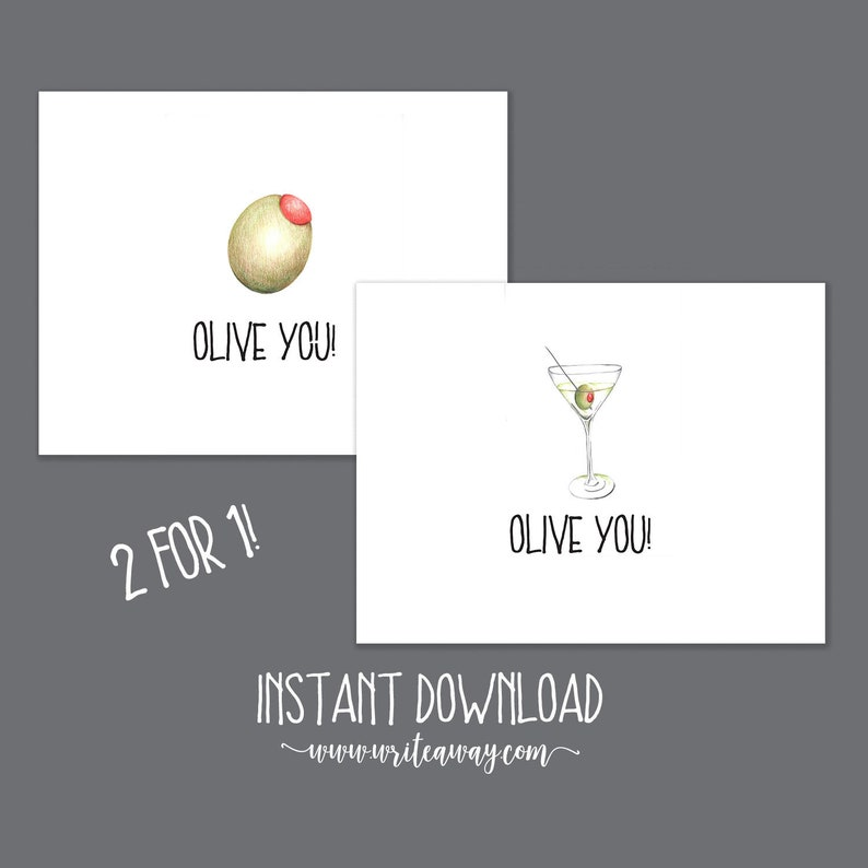 Printable Olive Martini Note Cards  Instant Download  image 0