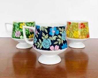 Set of 3 Floral Mugs - Vintage Flower Mugs - Cute teacup - Housewarming Gift
