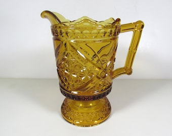Richards and Hartley Daisy & Button with Crossbar aka Mikado Amber Glass EAPG Pitcher
