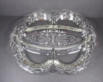 Vintage Cambridge Glass Portia 5 Part Relish Tray #3400/67