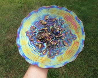 Northwood Carnival Glass Rose Show Plate Amethyst Purple Scarce