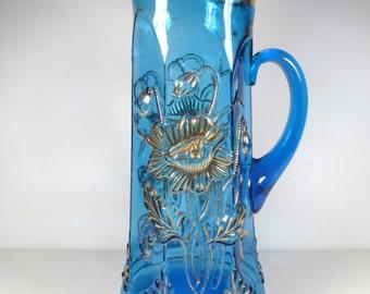 Northwood Oriental Poppy Blue Glass Tankard Pitcher