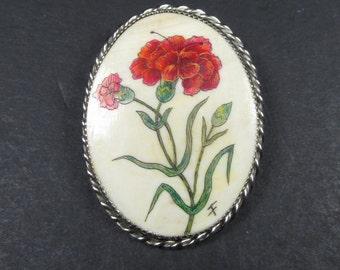 Frank Barcelos Scrimshaw Carnation Brooch Pin Pendant Bone Set In Sterling Silver