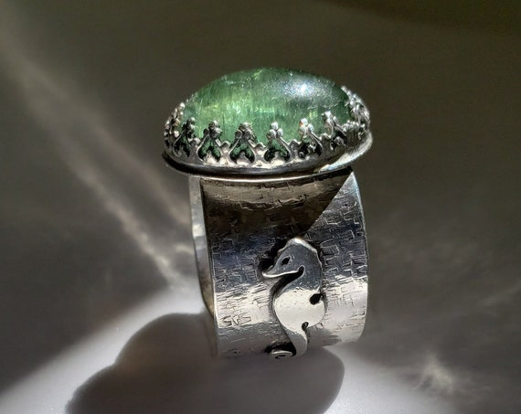 Seahorse Dreams Green Tourmaline Sterling Ring Size 9