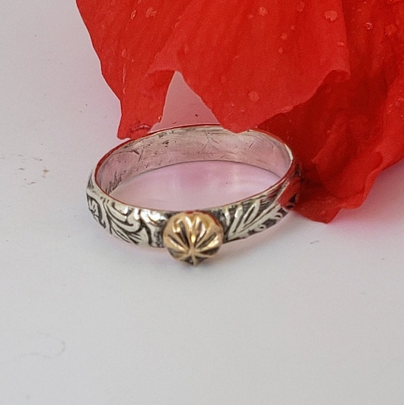 Sterling Silver & 14k Gold Ring
