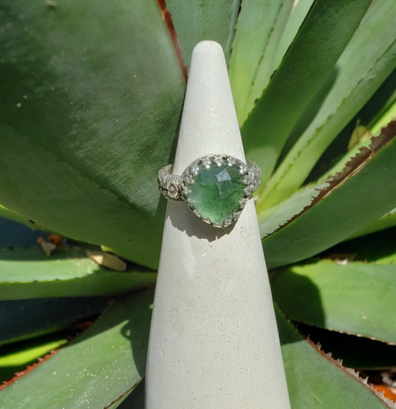 Rose Cut Verdelite Tourmaline Ring in Sterling