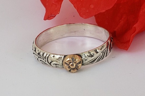 One Sterling Silver Ring  with 14k Gold Handcrafted Flower