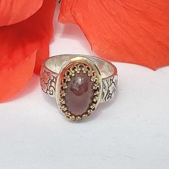 Cherry Blossom Pink Tourmaline Ring Sterling 14k