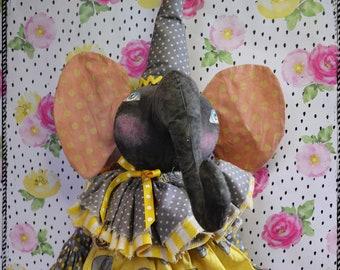 Primitive Folk Art Whimsical Elephant Cloth Doll #2