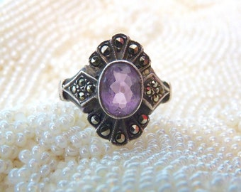 Sterling silver ring with amethyst and marcassites