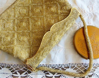 Golden beads embroidery evening bag