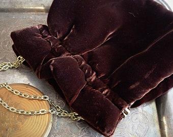 Brown velvet 1980s evening bag