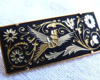 Real damascene rectangular brooch - arabesques, flowers and bird