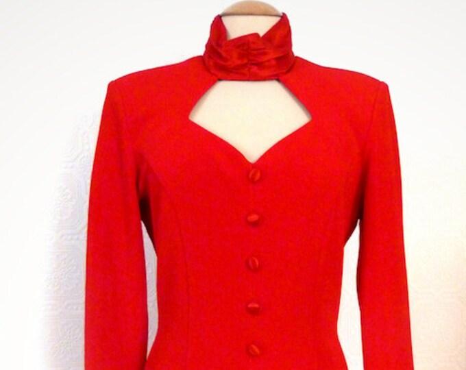 BODY-CONSCIOUS RED pencil dress, low-cut neckline