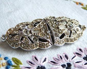 Art deco Rhinestone and rhodium brooch and dress clips CORO DUETTE - patents 1798867 & 1852188
