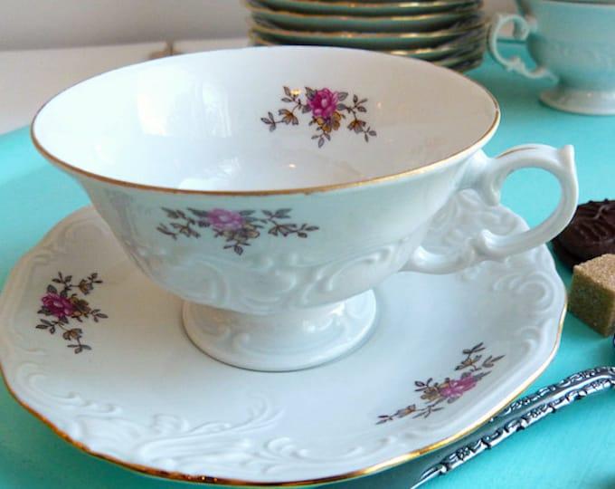 Walbrzych Rosebud fine porcelain footed teacup