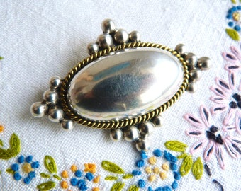 2-in-1 brooch and pendant - sterling silver and brass