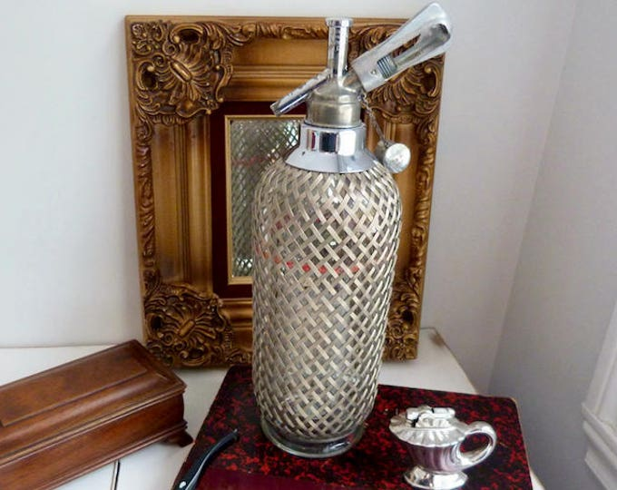 Sparklets England soda water syphon - glass and wire mesh - 1940s