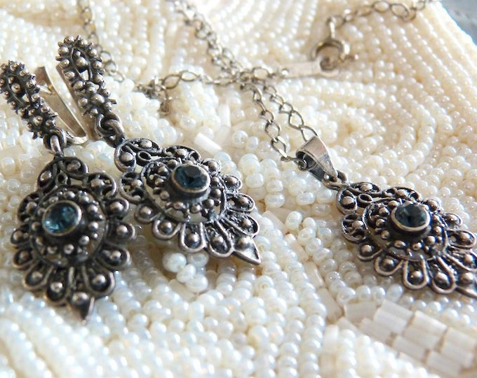Sterling silver and blue gemstone etruscan / byzantine / victorian style jewelry set