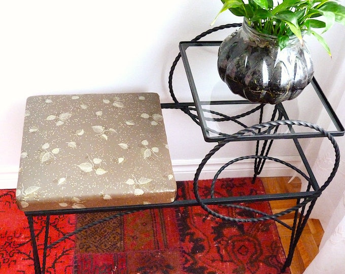 Mid-century wrought iron phone table