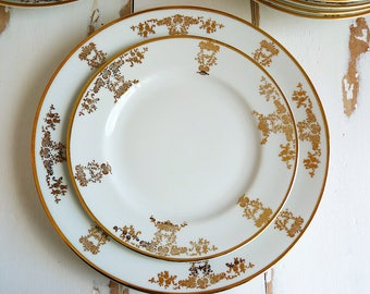 Pirken-hammer fine Bohemian china plates, gold filigree pattern