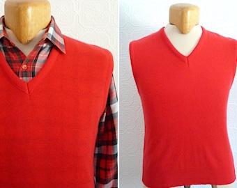 Sleeveless thin red sweater / knit - ARISTOCRAT