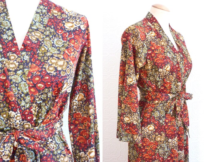 Long retro flowers print robe / gown