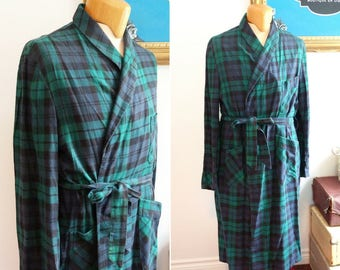 Long flannel-style heavy-weight cotton man robe / gown