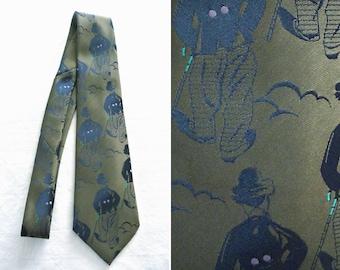 Kaki brocade tie - The Tramp / Charlie Chaplin